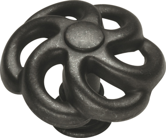 Hickory Hardware 1-1/2 In. Charleston Blacksmith Black Iron Cabinet Knob transitional-cabinet-and-drawer-knobs