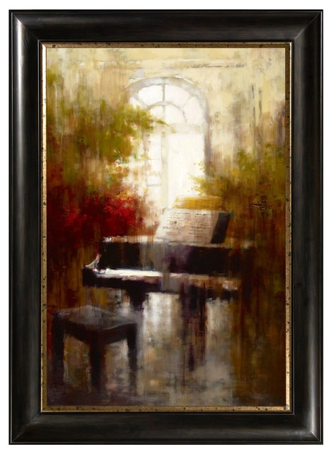 Framed Canvas Wall Decor : Piano framed canvas wall art traditional artwork