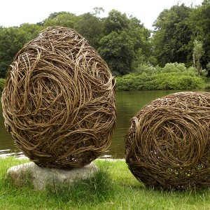 Willow Weaving Fallen Egg contemporary garden sculptures