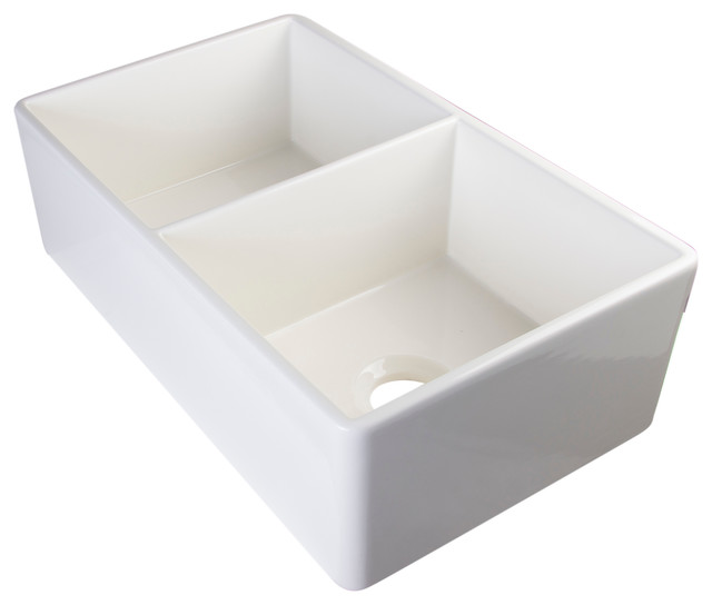 White Double Bowl Farmhouse Sink : ALFI White 32