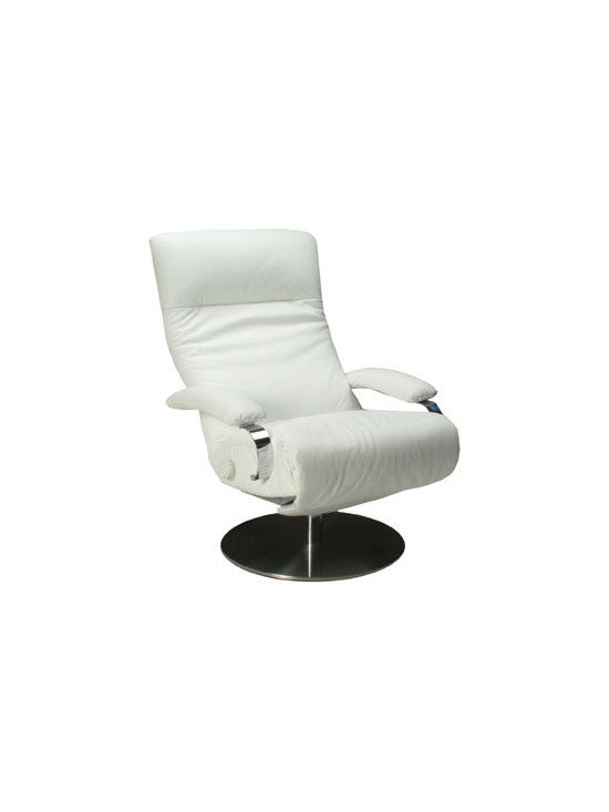 Kym Contemporary Recliner - Swivel leather recliner. Zero gravity recliner available in many colors.