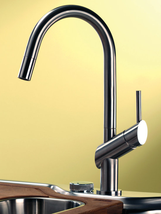 Habitat kitchen faucet from Webert - Habitat is effortless to use, even with greasy hands. A smooth handling of the lever is essential to ensure a precise adjustment of water flow or temperature. The graceful, high-arcing spout embraces clean lines and bold individuality. Choose the faucet in a stainless steel finish and pull-out spray, as shown, or visit the website for pricing on chrome models.