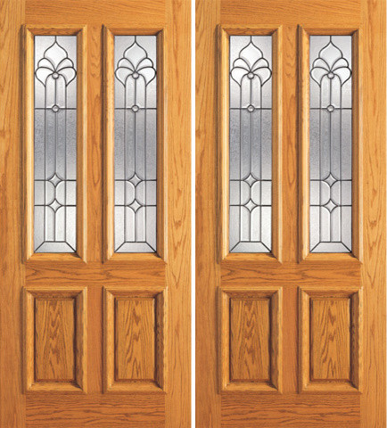 Mahogany Twin Lite House Double Door, Insulated Beveled Glasswork traditional-front-doors