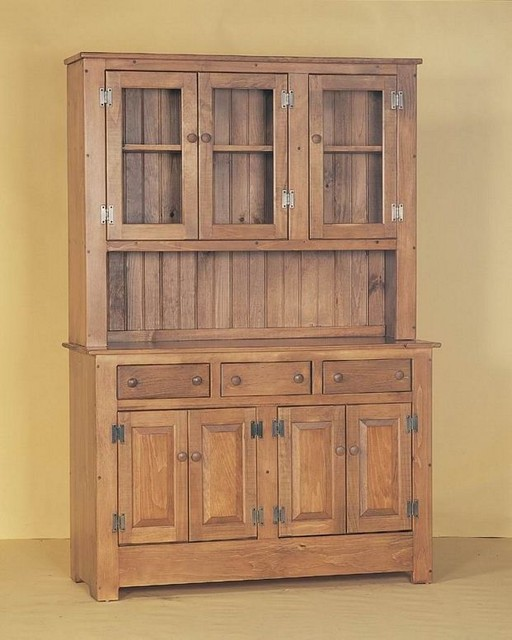 Amish Style Kitchen Cabinets: Amish Pine Wood Farmhouse Hutch