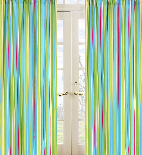 Turquoise And Lime Layla Stripe Window Treatment Panel Pair Contemporary Window Treatments