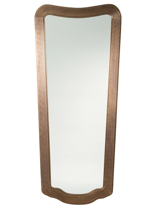 Arteriors Home - Margery Mirror - Margery Mirror features a carved mango wood frame that has been routed on the flat surface to give it dimensionality, then clad in Vintage Brass. Hangs vertically with a security cleat. ADA compliant. 35 inch width x 78 inch height x 1.5 inch depth.