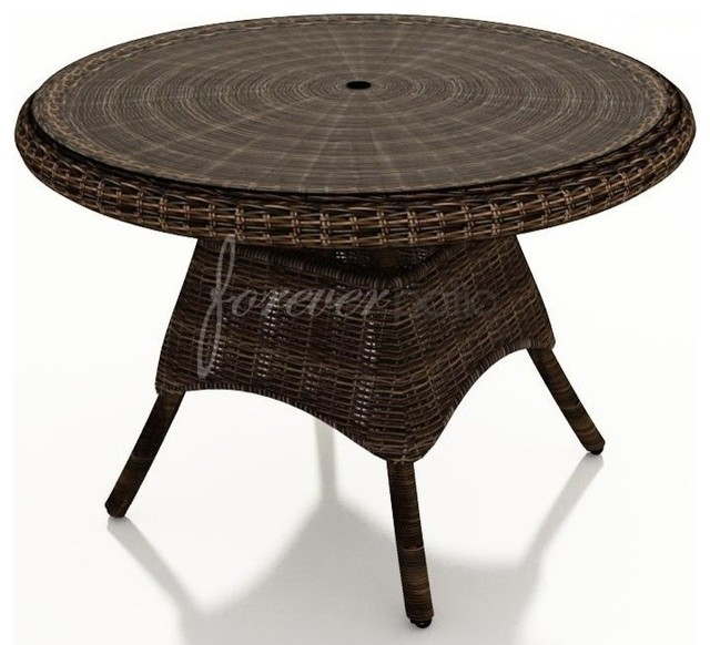 Wicker forever patio leona 42 round dining table with for Outdoor dining table glass top