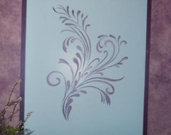 Metallic Faux Painted walls. painted border, Hand painted Scroll Design