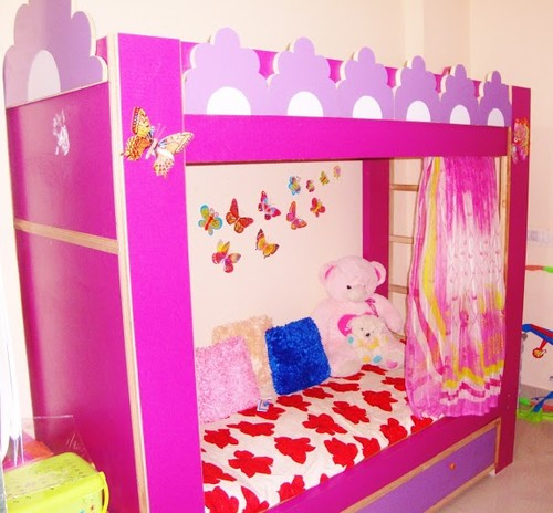 Pink curtains and the last one pink amp purple bunk bed my kids love it