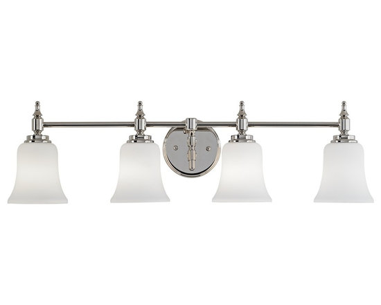 """Possini Euro Design - Darcy 31"""" Wide Polished Nickel Bath Light - This four light bath light combines contemporary style with classic design. Opal etched glass shades hangs down from the polished nickel frame and round wall plate. A beautiful new look for your bathroom. Polished nickel finish metal. Opal etched glass. Takes four 100 watt bulbs (not included). 31"""" wide. 8 1/2"""" high. Extends 6 1/4"""".  Polished nickel finish metal.   Opal etched glass.   Takes four 100 watt bulbs (not included).    31"""" wide.   8 1/2"""" high.   Extends 6 1/4""""."""
