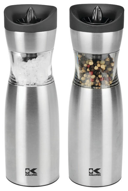 Single-handed Salt & Pepper Set contemporary-salt-and-pepper-shakers-and-mills