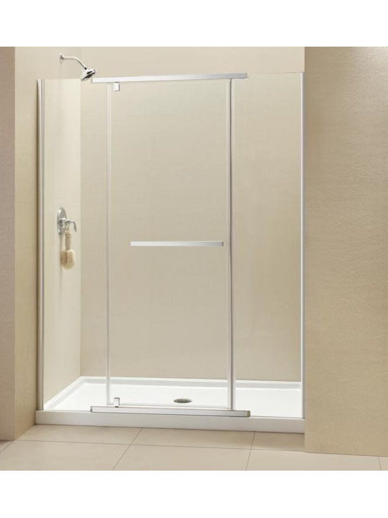 "DreamLine Vitreo-X 46"" Pivot Shower Door SHDR-2146722 - Looking for a frameless shower door with heavy glass? DreamLine™ Vitreo-X shower door is the answer. Vitreo-X features 3/8"" tempered glass, wall mounted brackets for stationary glass panels and a center door mounted on a sleek pivot mechanism. The door's flexible design allows for either a right or a left door opening. DreamLine™ Vitreo-X offers a simple yet elegant option for your shower project."