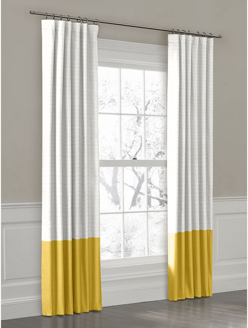 Yellow convertible color block drapery panel curtains new york