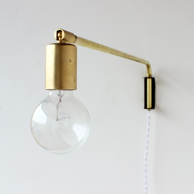 Wall Lamps Brass : Brass Swing Lamp - Modern - Wall Sconces - other metro - by Onefortythree