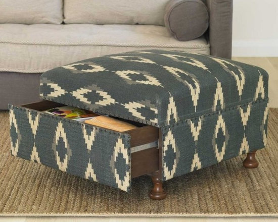 Ikat Storage Ottoman - This ottoman adds exotic fabric and storage to a room. It's perfect for chucking toys, DVDs, magazines and remotes when you're neatening up.