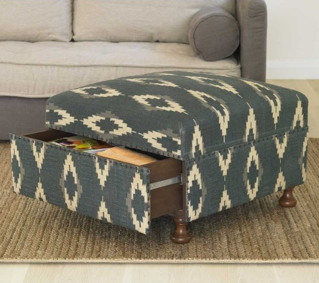 Ikat Storage Ottoman mediterranean ottomans and cubes
