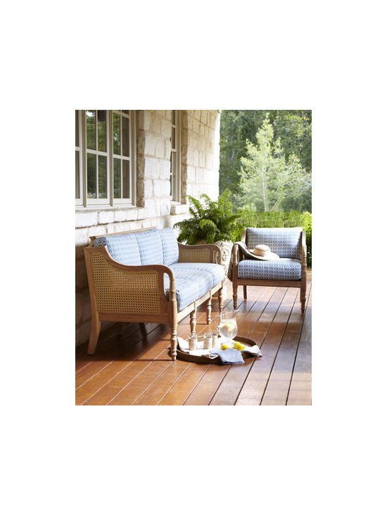 "Horchow - ""Henri"" Outdoor Sofa & Chair - Matching sofa and chair combine the beauty and durability of natural teak with the comfort of seat and back cushions in an inviting blue-and-white pattern. Hand carved of solid teak with woven Viro® resin cane seat, back, and sides. Cushions are..."