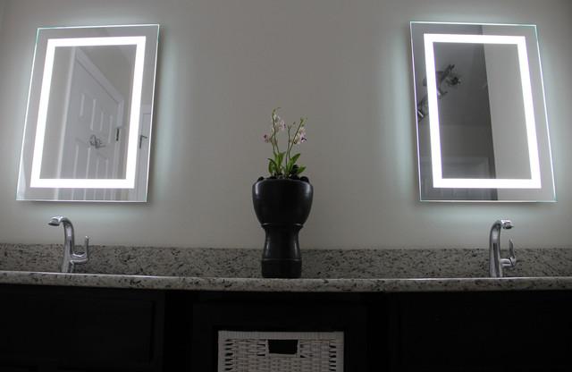 Lighted Image LED Bordered Illuminated Mirror Contemporary Bathroom
