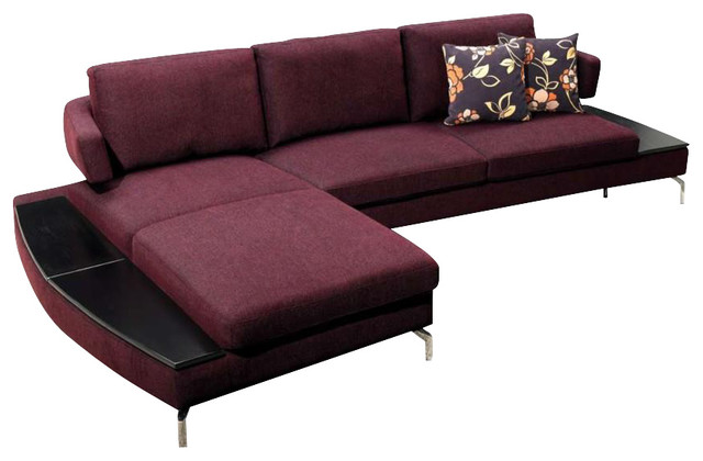 1077 purple microfiber fabric sectional sofa with built in for Sectional sofa with built in table