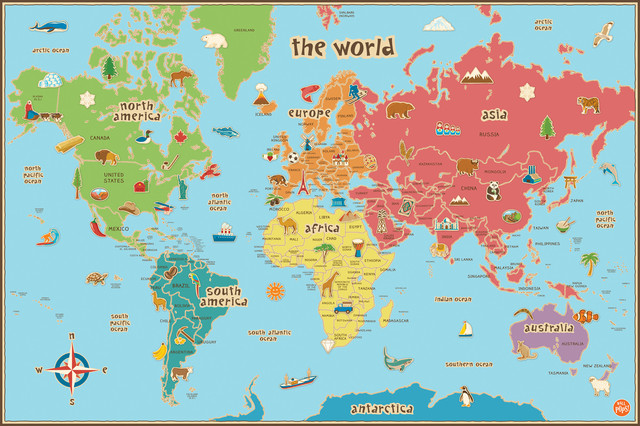 Kids' Dry-Erase World Map Wall Decal - Contemporary - Kids Wall Decor - by WallPops