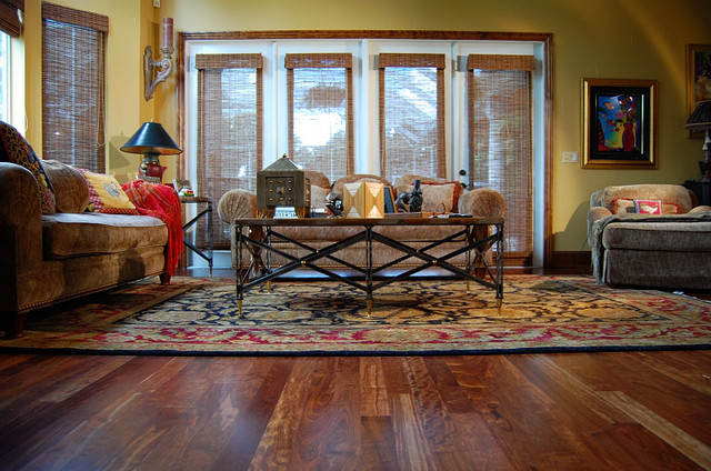 Caribbean Rosewood Hardwood Floor Tropical Living Room Tampa By Throu