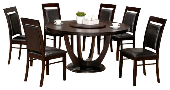 Round espresso finish wood dining table set contemporary dining sets