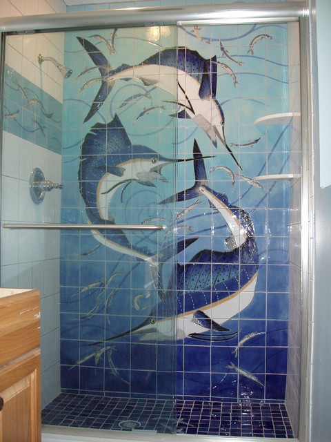 Handmade porcelain art tile murals for pool and shower for Artwork on tile ceramic mural