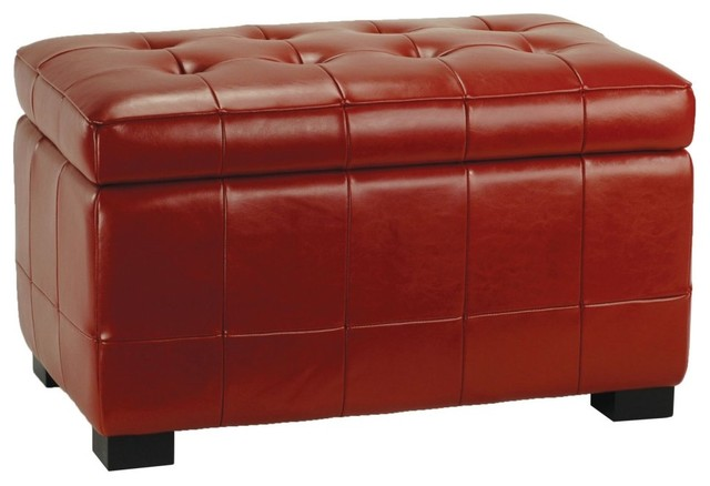safavieh small manhattan storage bench red leather