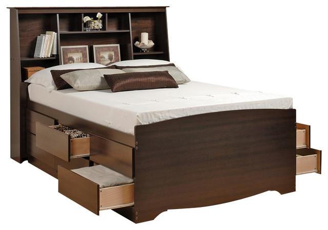 Prepac Manhattan Queen Platform Storage Bed Espresso