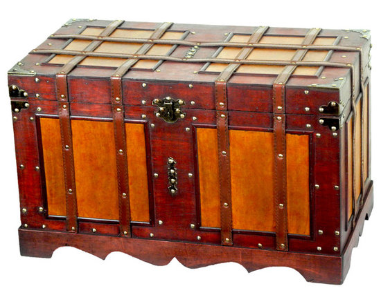 Antique Style Steamer Trunk - Our warm and welcoming steamer trunk brings back days of old time. Remember how excited you are when you were a little kid to look into your grandma's old chest, our decorative trunks will bring back those memories and help you create some new ones too. Our hope chest boxes are all handcrafted and tailored to enhance the existing decor of any room in the home. Great to use for your very own treasure chest!