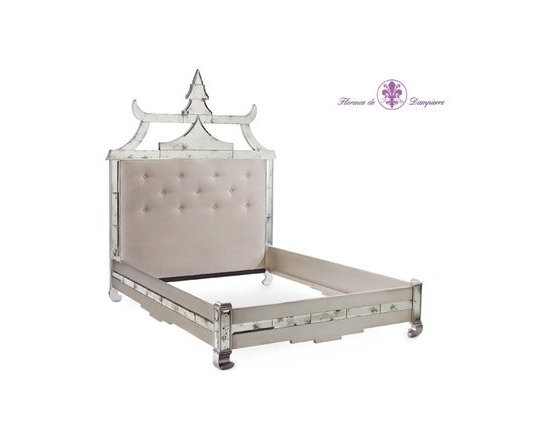 Pagoda Queen Bed by John Richard - Rest in style in this spectacular verre eglomise, upholstered bed. Its soft tufted headboard will make you sleep like a dream.