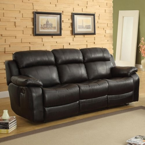 darrin leather reclining sofa with console black modern sofas