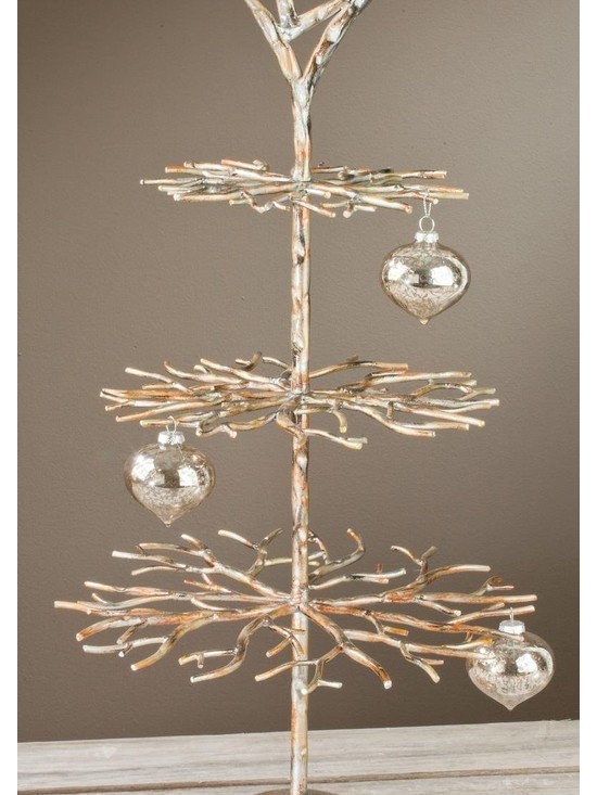 "3 Tier Designer Tree - Brushed Gold with Hand Applied Accents, 28"" Tall, Home De -"