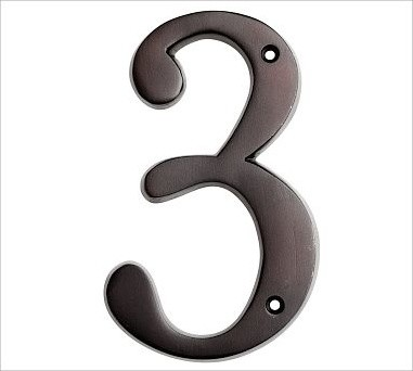 Stella House Number, 3, Vintage Brass finish traditional-house-numbers