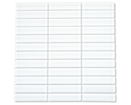 "White 1"" x 4"" Glass Subway Tile - This Mini White Glass Subway Tile is made from the strongest stain-resistant crystal clear glass. These tiles have a 8mm thickness that increases their durability and the depth of their color making them truly beautiful subway tiles. These subway tiles can be used for commercial or residential construction in either a wet or dry environment."