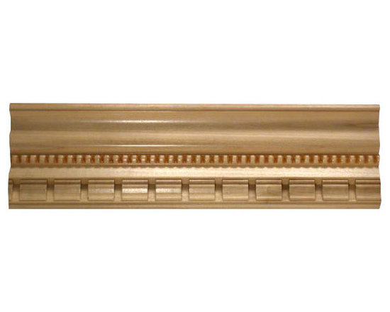"Inviting Home - Hyannis dentil crown molding - dentil wood crown molding 4""H x 3-3/8""P x 5-1/8""F x 8'00""L sold in 8 foot length (3 piece minimum required) Outstanding quality embossed crown molding profile milled from high grade kiln dried solid poplar hardwood. Decorative ornamental design crafted embossed under intense heat and pressure. Wood molding is sold unfinished and can be easily stained painted or glazed. The installation of the wood molding should be treated the same manner as you would treat any wood molding: all molding should be kept in a clean and dry environment away from excessive moisture. Acclimate wooden moldings for 5-7 days. When installing wood moldings it is recommended to nail molding securely to studs and glue all mitered corners for maximum support."