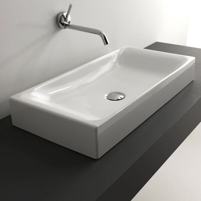 Counter Top Ceramic Sink 27 6 X 13 8 Contemporary Bathroom Sinks