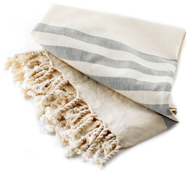 Organic Cotton Towel With Grey Stripes On Natural Color  towels