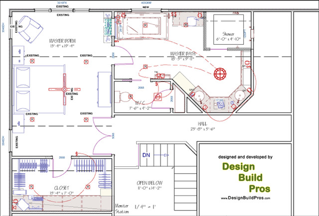 Spa-styled, contemporary master bathroom floor-plan