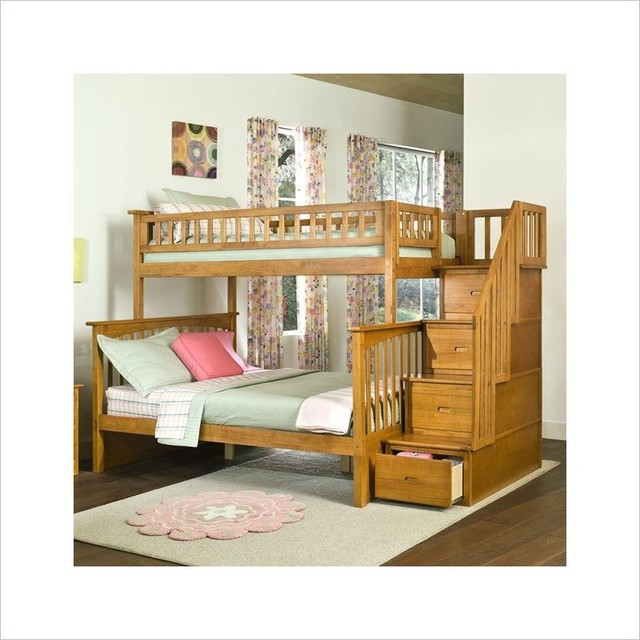 Solid Wood Twin Over Full Bunk Bed in Caramel Finish