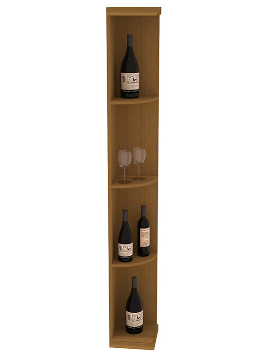 Quarter Round Wine Display in Redwood with Oak Stain - Highly decorative Quarter Round Wine Displays are the perfect solution to racking around corners. Designed with a priority on functionality, these wine storage units are excellent as end caps to walls of wine racking or as standalone shelving.