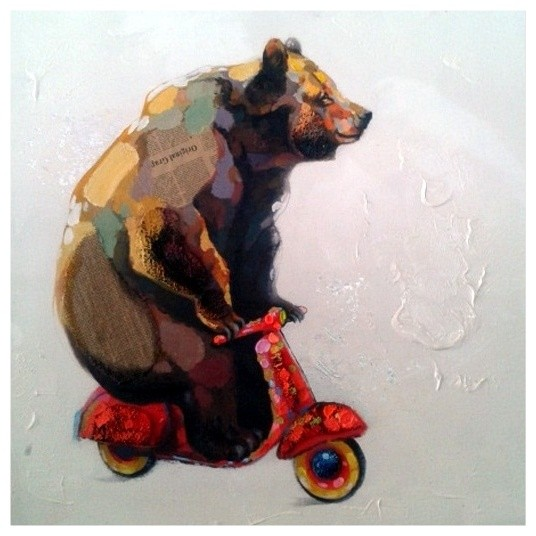Big Bear Riding A Small Scooter Oil Painting On Canvas