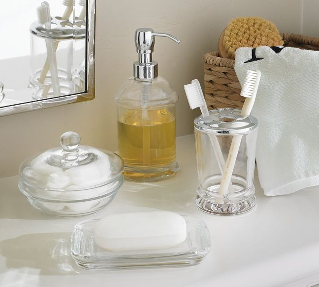 Pb classic glass bath accessories traditional bathroom for Bathroom accessories glass