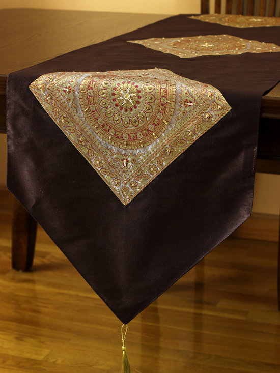 """Elegant Table Runners - Stunning """"Oriental Harmony"""" table runner. Coffee Brown color. Decorative Indian hand crafted design."""