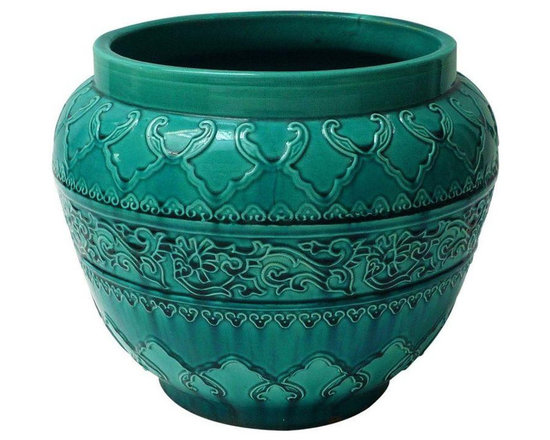 Turquoise Majolica Planter - Dimensions 24.0ʺW × 24.0ʺD × 11.0ʺH