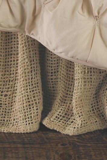 Raw Silk Woven Bedskirt Long Drop Tonal Cotton Muslin