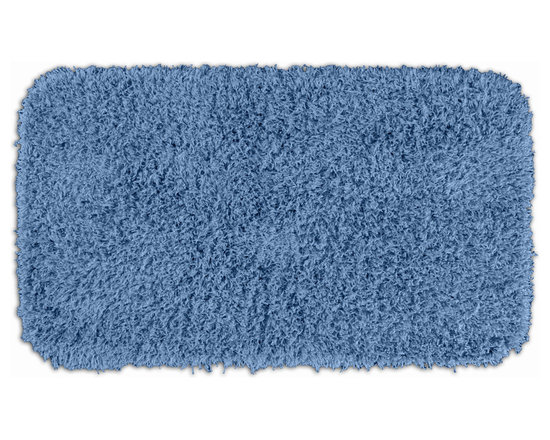 "Sands Rug - Quincy Super Shaggy Cool Blue Washable Runner Bath Rug (2'6"" x 4'2"") - Jazz up your bathroom, shower room, or spa with a bright note of color while adding comfort you can sink your toes into with the Quincy Super Shaggy bathroom collection. Each piece, whether a bath runner, bath mat or contoured rug, is created from soft, durable, machine-washable nylon. Floor rugs are backed with skid-resistant latex for safety."