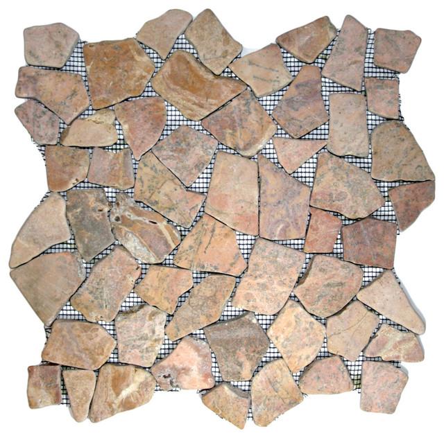 Red Mosaic Tile transitional-tile