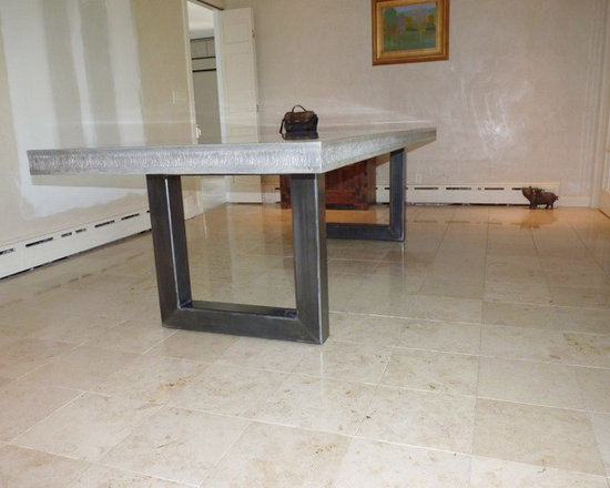 Concrete Table - concrete table top with embedded rocks, steel base by JM Lifestyles www.jmlifestyles.com