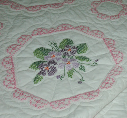 Violets Embroidery Quilt Kit